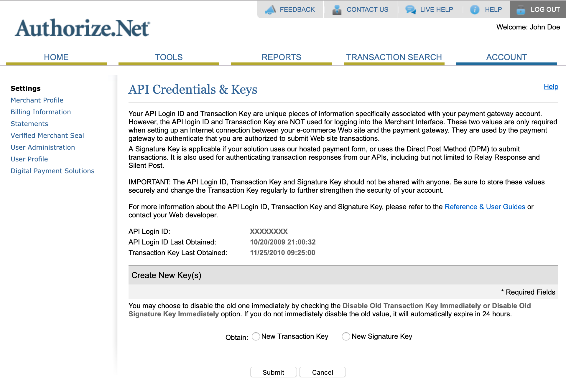 Authorize.Net API Credentials