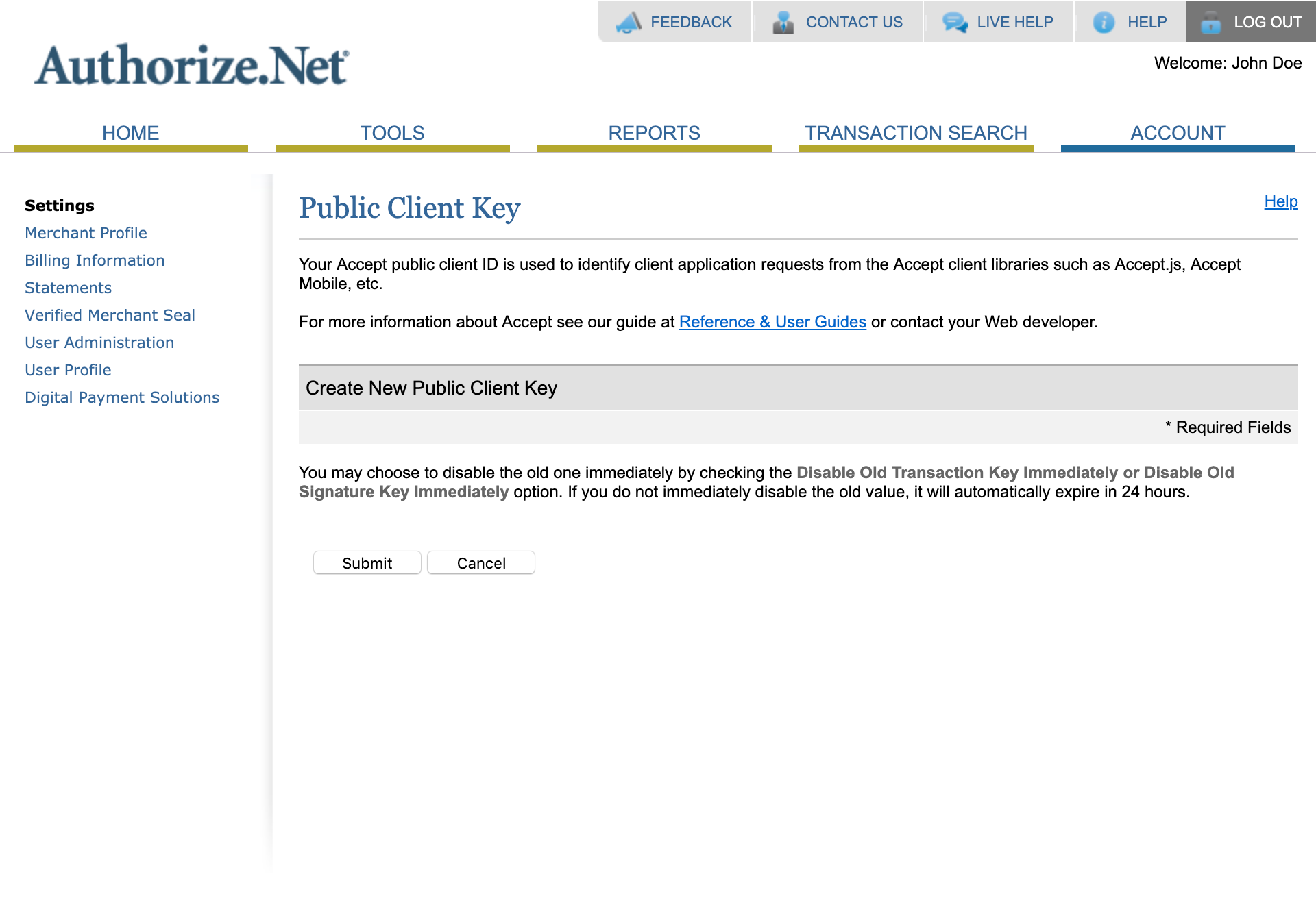 Authorize.Net Public Client Key