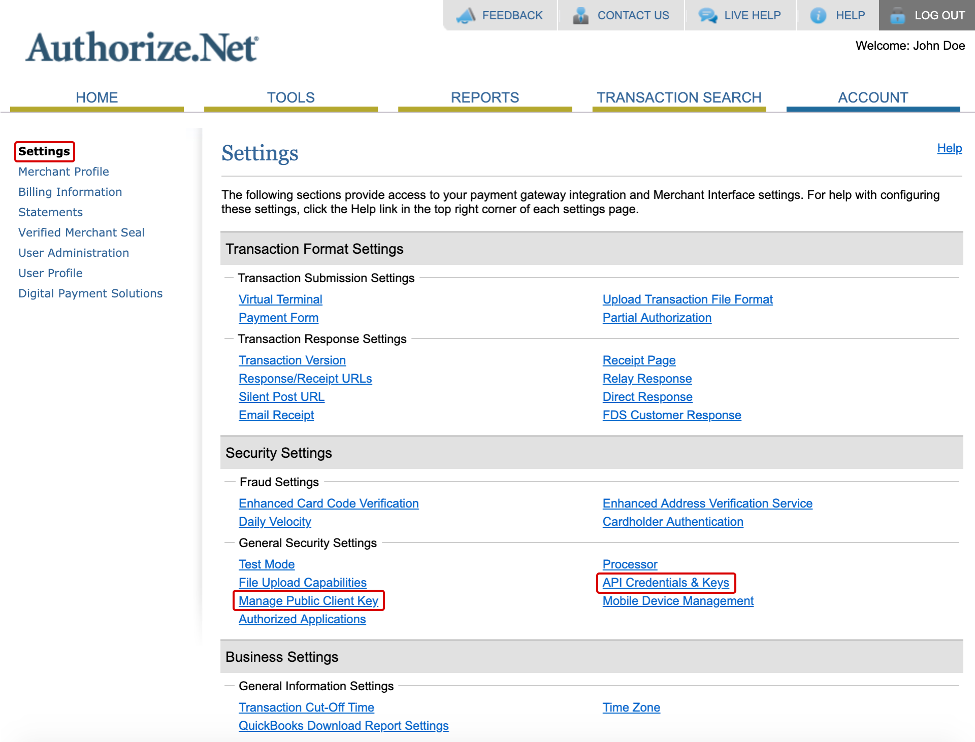 Authorize.Net Settings Section