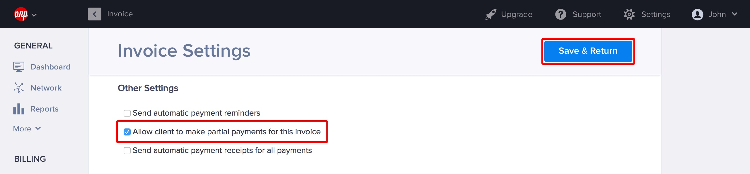Enabling partial payments from Invoice Settings