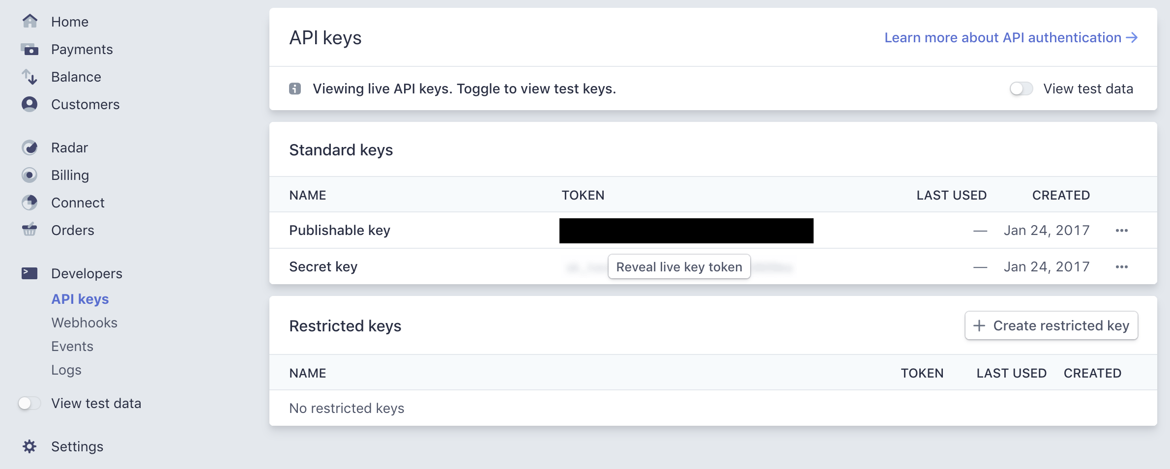 API keys section on the Stripe dashbaord